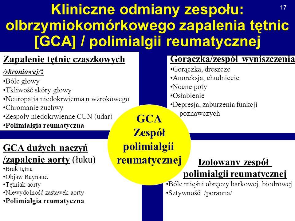 Kliniczne odmiany zespołu: olbrzymiokomórkowego zapalenia tętnic [GCA] / polimialgii reumatycznej